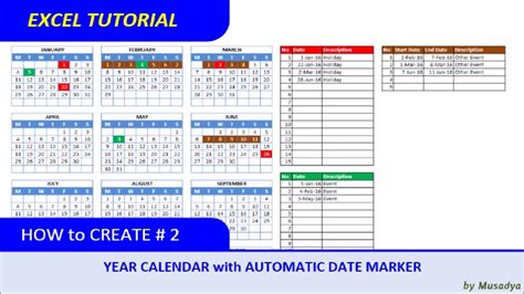 create excel calendar specific year automatic date