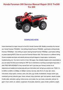 2013 Honda Foreman 500 Owners Manual Pdf