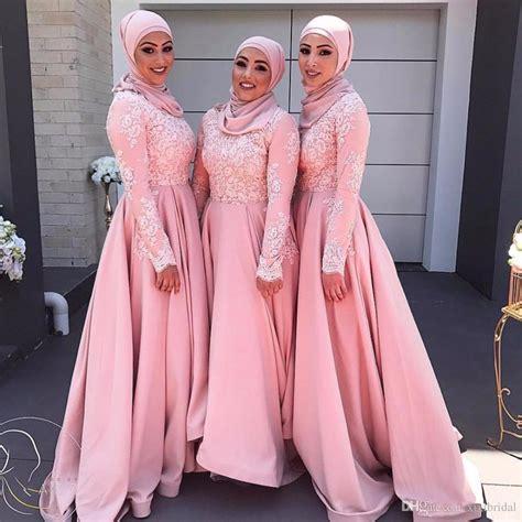 Pink Long Sleeves Muslim Evening Dresses 2018 Hijab Abaya Moroccan Kaftan Lace Appliques A Line ...