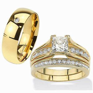 his hers 3 piece 14k gold plated stainless steel cz wedding ring band ebay