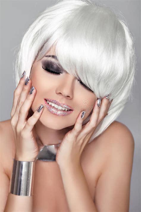 fashion beauty portrait woman white short hair happy girl close  haircut hairstyle fringe