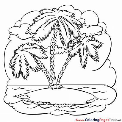 Palm Tree Island Printable Colouring Coloring Pages