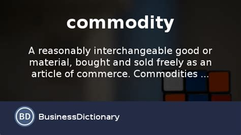 what is a commodity definition and meaning - Commodity Type Business