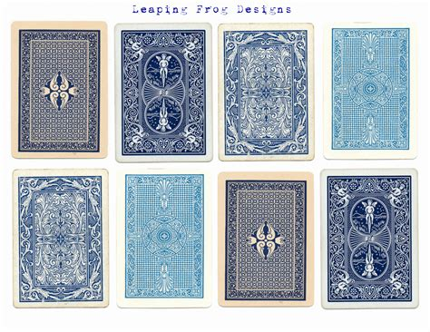 leaping frog designs  vintage playing card collage sheet