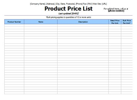 price template price list template company documents