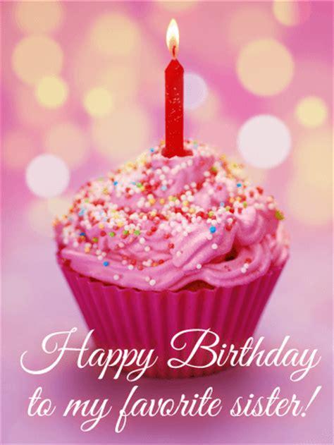 favorite sister birthday cupcake card birthday