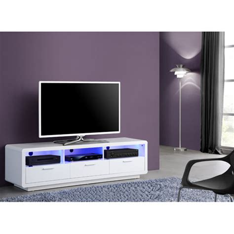 belco white high gloss finish lcd tv stand with led light