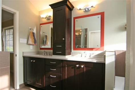 double vanity with a custom tower cabinet yelp