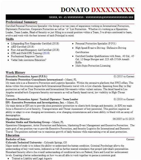 executive protection agentbodyguard resume  draken