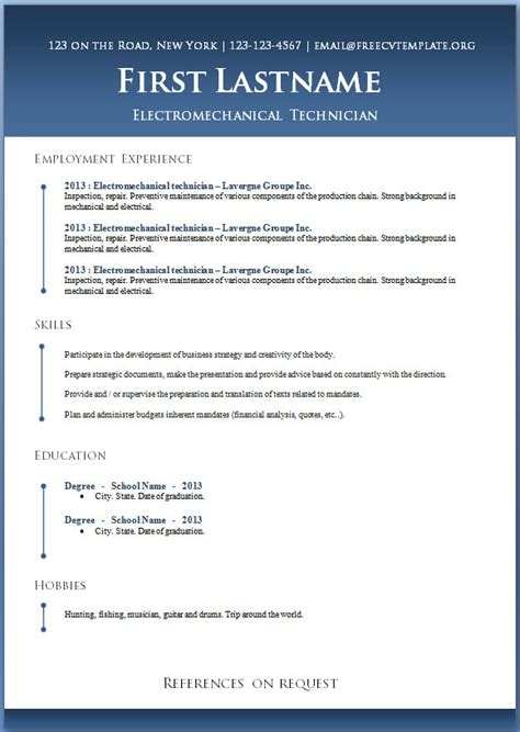 modern curriculum vitae templates free 50 free microsoft word resume templates for download