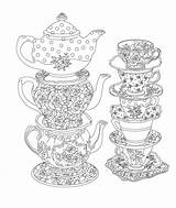 Tea Coloring Party Pages Printable Elegant Adult Issuu Books Cups Pen Ink Parties Mandala sketch template