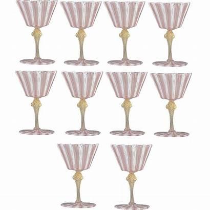 Glass Venetian Wine Goblets Water Latticino Stems