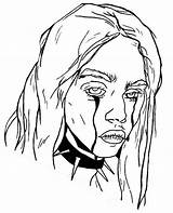 Billie Eilish Coloring Pages Famous Crying Printable sketch template