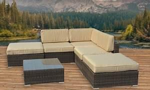 Outdoor sectional sofa set groupon for Sectional sofa groupon