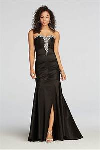 strapless ruched taffeta beaded prom dress With how to dress up a black dress for a wedding