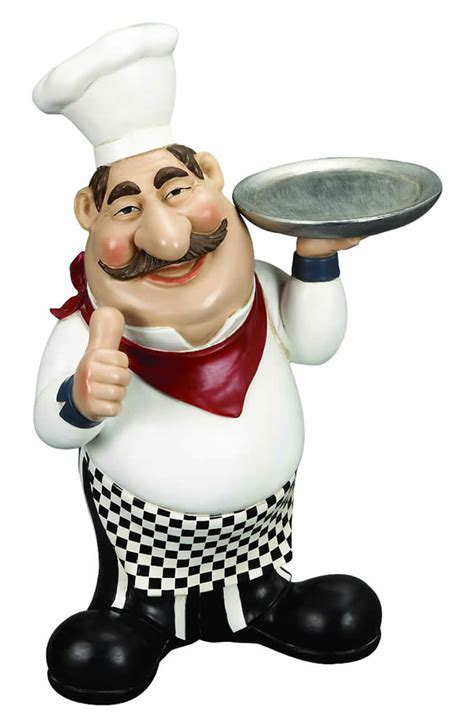 French Fat Chef Serving Tray Kitchen Tabletop Bar Decor