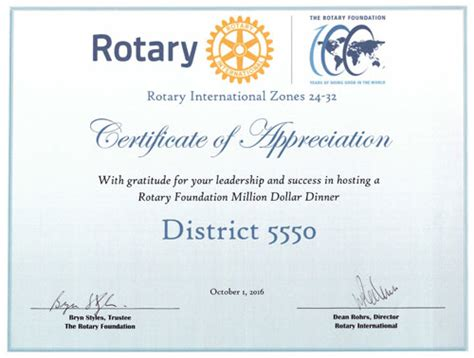 Rotary Certificate Of Appreciation Template by Rotary Certificate Of Appreciation Template Gallery