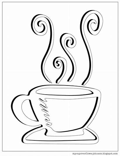 Coloring Tea Cup Coffee Pages Clipart Overflows