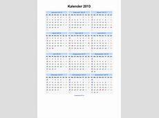 Kalender 2013 Jaarkalender en Maandkalender 2013 met