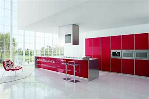 modern kitchen designs with red and white cabinets from With kitchen design red and white