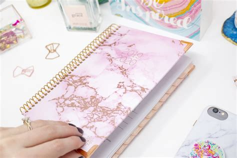 academic year hard cover daily planner pink marble bloom