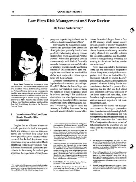 Law Firm Risk Management and Peer Review By Susan Saab