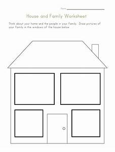 House and family worksheet preschool family for Person template preschool