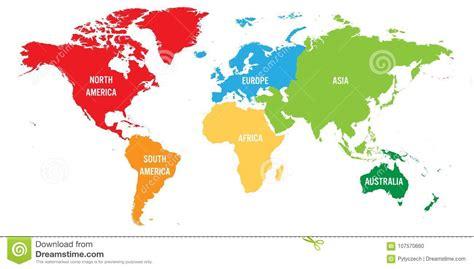 Världskartan Delade In I Sex Kontinenter Varje Kontinent I ...