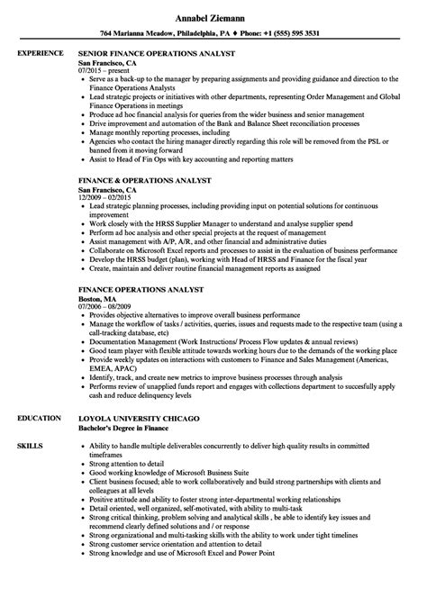 finance operations analyst resume samples velvet jobs