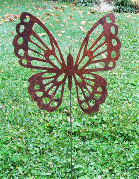 butterfly garden stake garden decor garden rust