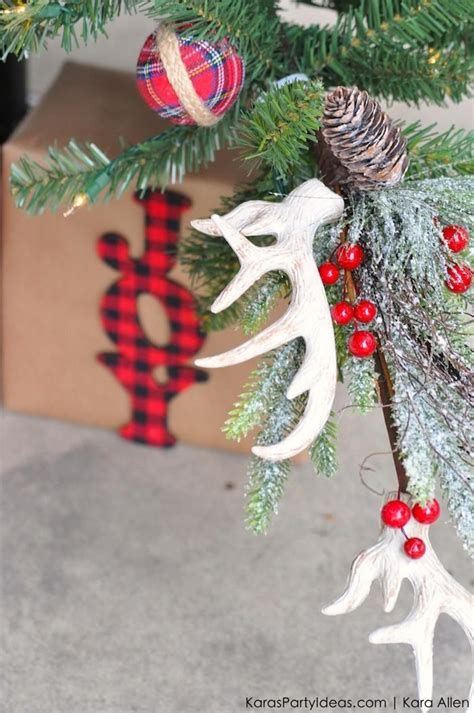 deer antlers and plaid for christmas deer antler ornaments rustic plaid farm house cabin tree by kara allen