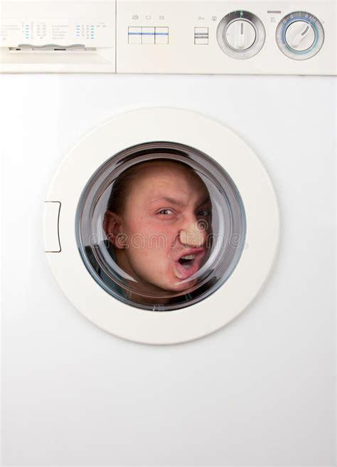 Bizarre Man Inside Washing Machine Stock Image Image