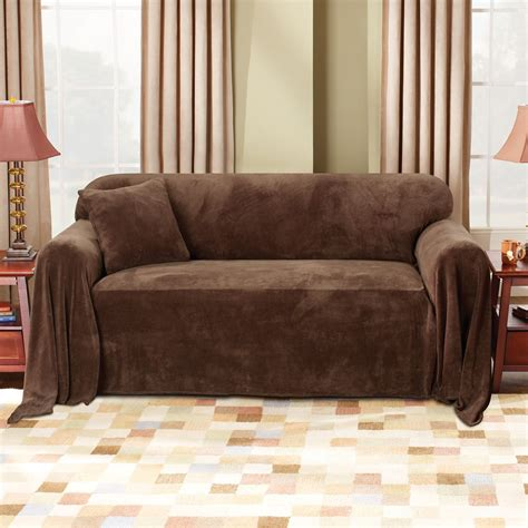 fit plush chocolate sofa throw slipcover home