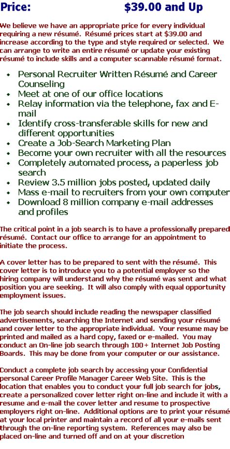 personal resume writing service