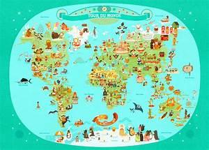 Affiche Carte Du Monde : tour du monde julie mercier planisph re enfant l ~ Dailycaller-alerts.com Idées de Décoration