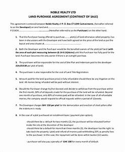 property purchase agreement template With contract for sale of land template