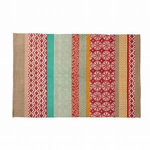 Tapis En Coton : tapis en coton multicolore 120 x 180 cm pinkplanet ~ Nature-et-papiers.com Idées de Décoration