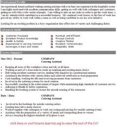 assistant catering manager resume post reply
