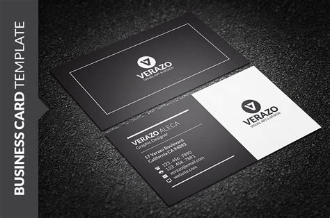 clean black white business card business card