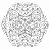 Mandalas Coloring Pencil Mandala Line Drawings Adult sketch template