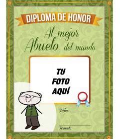 diploma para imprimir al mejor abuelo mundo para personalizar con fotoefectos