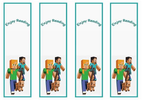Minecraft Bookmark Template by Minecraft Bookmarks To Print Printable 360 Degree