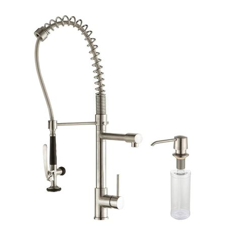 sink faucet rinser home depot kraus commercial style single handle pull kitchen