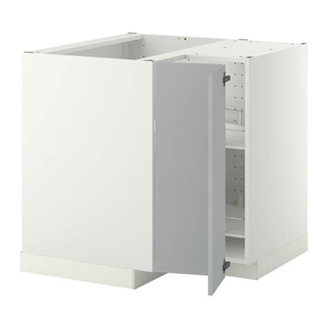 metod corner base cabinet with carousel white veddinge grey 88x88 cm ikea