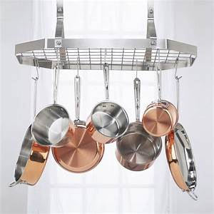 Cuisinart octagonal hanging rack pot racks at hayneedle for Kitchen racks hanging