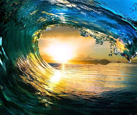 wallpaper sea wave  sun landscape nature