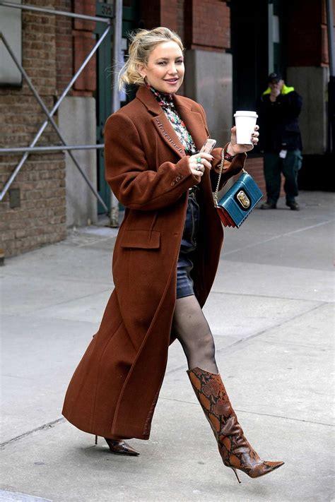 kate hudson  stunning   brown alexander wang overcoat   leaves  greenwich hotel