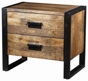 Table De Nuit Industriel : delia night table with 2 drawers made of mango wood industriel table de chevet et table de ~ Teatrodelosmanantiales.com Idées de Décoration
