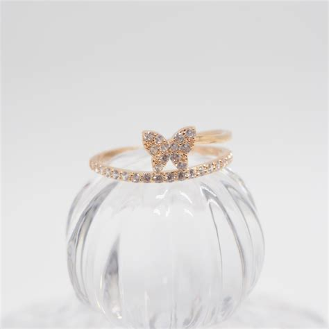 rose gold butterfly ring simple ring cute ring cool