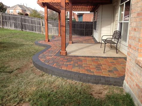 sted concrete backyard ideas multicolored paver patio installed around an existing concrete slab garden outdoor